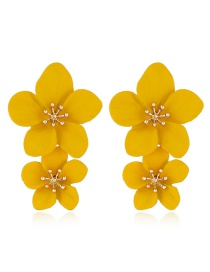 Fashion Yellow Alloy Floral Multicolor Earrings