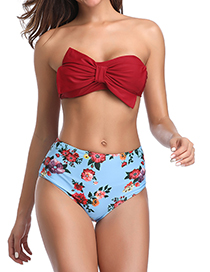 Fashion Red Solid Color Printed Split Bikini