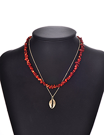 Fashion Wine Red Alloy Resin Double Shell Necklace