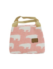 Fashion Foundation Polar Bear Canvas Portable Lunch Bag