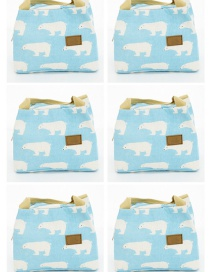 Fashion Blue-and-white Polar Bear Canvas Portable Lunch Bag