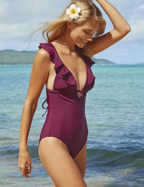 Fashion Wine Red Pleated One-piece Bikini