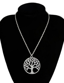 Fashion Four Ancient Silver Tree 2335 Single Layer Chain Hollow Star Tree Necklace