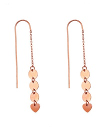 Fashion Rose Gold Stainless Steel Geometric Heart Stud Earrings