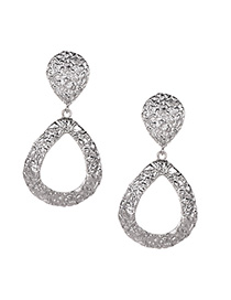 Fashion Silver Alloy Large Water Droplets Hollow Earrings