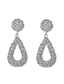 Fashion Silver Alloy Small Water Droplets Hollowed Ear Studs