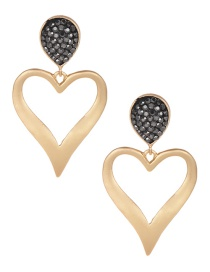 Fashion Gold Alloy Diamond Heart Earrings