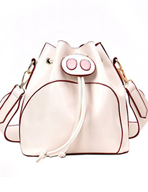 Fashion White Contrast Drawstring Piglet Bucket Crossbody Bag