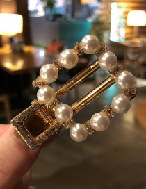 Fashion Square Section Imitation Pearl Hair Clip