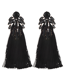 Fashion Black Alloy Diamond Dripping Tassel Earrings