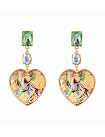 Fashion Gold Color Geometric Heart-shaped Diamond Earrings