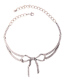 Fashion Silver Alloy Plated Multi-layer Bow And Diamond Necklace