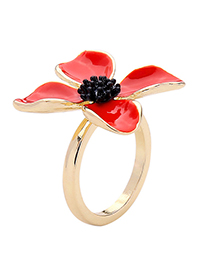 Fashion Red Alloy Plating Drip Flower Ring Reviews