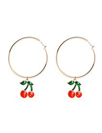 Fashion Cherry Alloy Drops Litchi Earrings