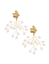Fashion Gold Alloy Flower Pearl Tassel Earrings
