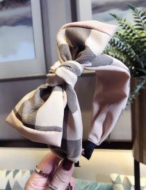 Fashion Beige Contrast Plaid Bow Wide Side With Toothed Headband