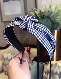 Fashion Sapphire Plaid Letters Knotted Wide-brimmed Headband