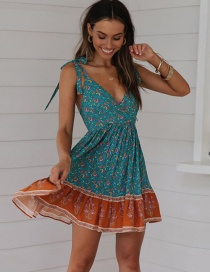 Fashion Lake Blue Lace-up Back-neck V-neck Pleated Print Dress