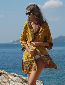 Fashion Yellow Cotton Print Dress