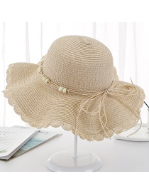 Fashion Beige Big Wavy Straw Hat