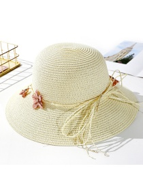 Fashion Creamy-white Flower Straw Hat