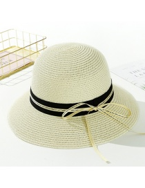 Fashion Creamy-white Streamer Letter Tether Straw Hat