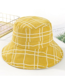 Fashion Ginger Yellow Plaid Basin Cap Hat