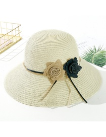 Fashion Creamy-white Big Leather Rope Double Straw Hat