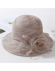 Fashion Khaki Organza Flower Foldable Fisherman Hat