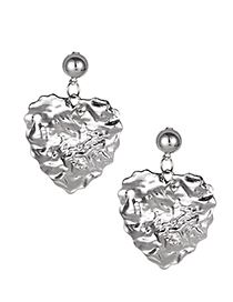 Fashion Silver Alloy Love Earrings