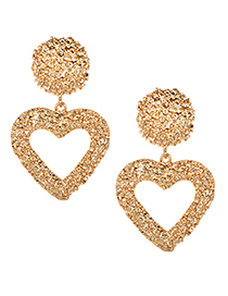 Fashion Gold Alloy Hollow Love Earrings