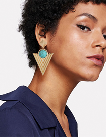 Fashion Gold Alloy Turquoise Triangle Stud Earrings