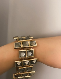 Fashion Gold Square Glass Gemstone Irregular Bracelet