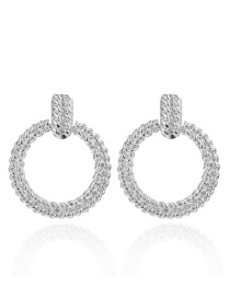 Fashion Small White K Geometric Hollow Embossed Round Earrings