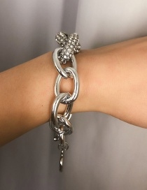 Fashion White K Diamond Ring Buckle Bracelet