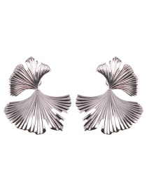 Fashion White K Alloy Ginkgo Leaf Earrings