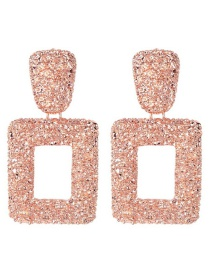 Fashion Rose Gold Alloy Hollow Square Earrings