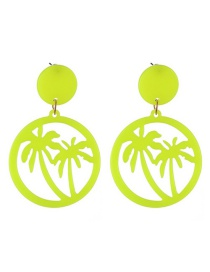 Fashion Fluorescent Yellow Resin Hollow Coconut Ear Studs