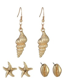 Fashion Gold Alloy Starfish Conch Shell Earrings Three-piece