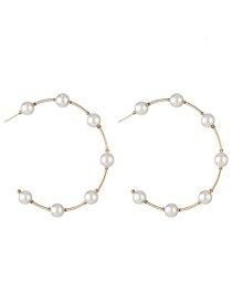 Fashion Gold Alloy String Pearl C-shaped Earrings