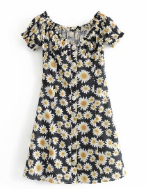 Fashion Black Daisy Print One-shoulder Single-breasted Dress