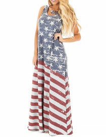 Fashion Color American Flag Printed Vest And Floor Dress