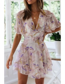Fashion White Printed V-neck Dress
