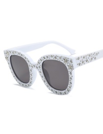 Fashion White Frame Gray Piece C6 Mirror Five-pointed Star Sunglasses