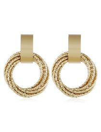 Fashion Gold Geometric Round Alloy Earrings