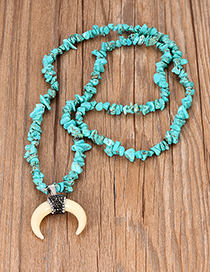 Fashion Lake Green Diamond Colored Turquoise Resin Crescent Necklace