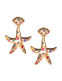 Fashion Color Alloy Resin Shell Starfish Earrings