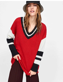 Fashion Red Contrast Ribbed Sweater