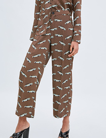 Fashion Coffee Color Printed Home Pants