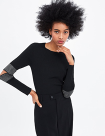 Fashion Black Bright Sleeve Knit Top